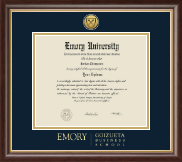 Emory University  Diploma Frame - Gold Engraved Medallion Diploma Frame in Hampshire