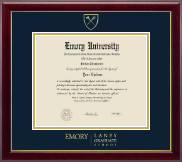 Emory University  Diploma Frame - Gold Embossed Diploma Frame in Gallery