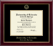 University of Colorado Colorado Springs Diploma Frame - Gold Embossed Diploma Frame in Gallery
