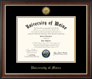 The University of Maine Orono Diploma Frame - Gold Engraved Medallion Diploma Frame in Studio Gold