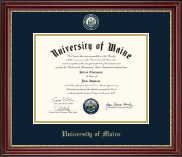 The University of Maine Orono Diploma Frame - Masterpiece Medallion Diploma Frame in Kensington Gold