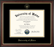The University of Maine Orono Diploma Frame - Gold Embossed Diploma Frame in Studio Gold