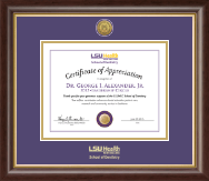 Louisiana State University Health Sciences Center Certificate Frame - Gold Engraved Medallion Certificate Frame in Hampshire