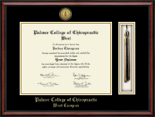 Palmer College of Chiropractic West Diploma Frame - Tassel Gold Engraved Medallion Diploma Frame in Southport