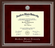 Southern Illinois University Carbondale Diploma Frame - Silver Engraved Medallion Diploma Frame in Devonshire