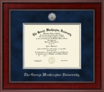 The George Washington University Diploma Frame - Presidential Silver Engraved Diploma Frame in Jefferson