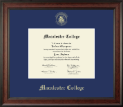 Macalester College Diploma Frame - Gold Embossed Diploma Frame in Studio