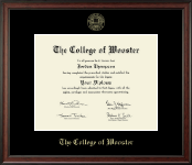The College of Wooster Diploma Frame - Gold Embossed Diploma Frame in Studio
