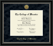 The College of Wooster Diploma Frame - Gold Engraved Medallion Diploma Frame in Noir