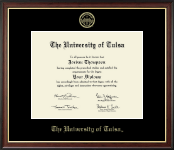 The University of Tulsa Diploma Frame - Gold Embossed Diploma Frame in Studio Gold
