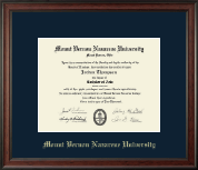 Mount Vernon Nazarene University Diploma Frame - Gold Embossed Diploma Frame in Studio