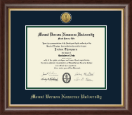 Mount Vernon Nazarene University Diploma Frame - Gold Engraved Medallion Diploma Frame in Hampshire