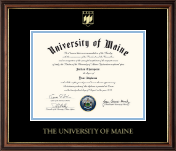 The University of Maine Orono Diploma Frame - Gold Embossed Sail Logo Diploma Frame in Williamsburg
