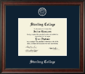 Sterling College Diploma Frame - Silver Embossed Diploma Frame in Studio