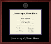 University of Mount Union Diploma Frame - Silver Embossed Diploma Frame in Camby