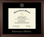 University of Illinois Diploma Frame - Gold Embossed Diploma Frame in Studio