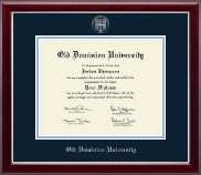 Old Dominion University Diploma Frame - Silver Embossed Diploma Frame in Gallery Silver