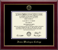 Iowa Wesleyan College Diploma Frame - Gold Embossed Diploma Frame in Gallery