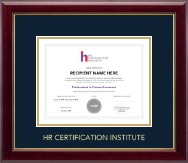 Human Resource Certification Institute Certificate Frame - Gold Embossed Certificate Frame in Gallery