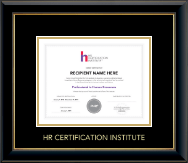 Human Resource Certification Institute Certificate Frame - Gold Embossed Certificate Frame in Onyx Gold
