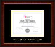 Human Resource Certification Institute Certificate Frame - Gold Embossed Certificate Frame in Murano