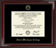 Iowa Wesleyan College Diploma Frame - Gold Embossed Diploma Frame in Encore