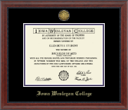 Iowa Wesleyan College Diploma Frame - Gold Engraved Medallion Diploma Frame in Signature