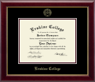 Erskine College Diploma Frame - Gold Embossed Diploma Frame in Gallery