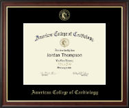 American College of Cardiology Certificate Frame - Gold Embossed Certificate Frame in Studio Gold