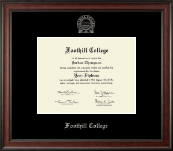 Foothill College Diploma Frame - Silver Embossed Diploma Frame in Studio