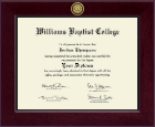 Williams Baptist College Diploma Frame - Century Gold Engraved Diploma Frame in Cordova