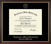 Louisiana State University School of Medicine Diploma Frame - Gold Embossed Diploma Frame in Studio Gold