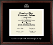 Cleveland State Community College Diploma Frame - Silver Embossed Diploma Frame in Studio