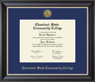 Cleveland State Community College Diploma Frame - Gold Engraved Medallion Diploma Frame in Noir