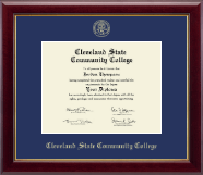 Cleveland State Community College Diploma Frame - Gold Embossed Diploma Frame in Gallery