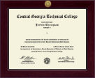 Central Georgia Technical College Diploma Frame - Century Gold Engraved Diploma Frame in Cordova
