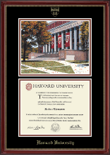Harvard University Diploma Frame - Campus Scene Edition Diploma Frame in Kensington Gold