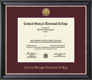 Central Georgia Technical College Diploma Frame - Gold Engraved Medallion Diploma Frame in Noir