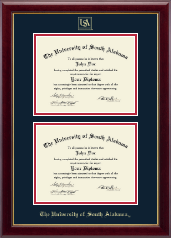 University of South Alabama Diploma Frame - Double Diploma Frame in Gallery