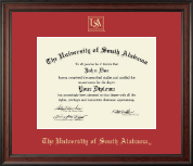 University of South Alabama Diploma Frame - Gold Embossed Diploma Frame in Studio