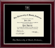 University of South Alabama Diploma Frame - Silver Embossed Diploma Frame in Gallery Silver