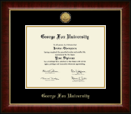 George Fox University Diploma Frame - Gold Engraved Medallion Diploma Frame in Murano