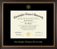 Christopher Newport University Diploma Frame - Gold Embossed Diploma Frame in Studio Gold