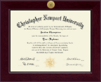 Christopher Newport University Diploma Frame - Century Gold Engraved Diploma Frame in Cordova