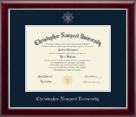 Christopher Newport University Diploma Frame - Silver Embossed Diploma Frame in Gallery Silver