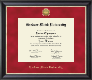Gardner-Webb University Diploma Frame - Gold Engraved Medallion Diploma Frame in Noir