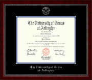 The University of Texas Arlington (UTA) Diploma Frame - Silver Embossed Diploma Frame in Sutton