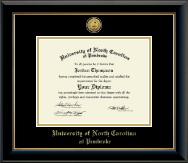 University of North Carolina at Pembroke Diploma Frame - Gold Engraved Medallion Diploma Frame in Onyx Gold