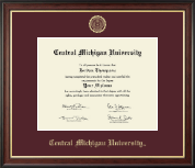 Central Michigan University Diploma Frame - Gold Embossed Diploma Frame in Studio Gold