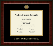 Central Michigan University Diploma Frame - Gold Engraved Medallion Diploma Frame in Murano